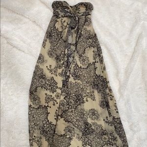 Strapless Black and Tan floral maxi size small